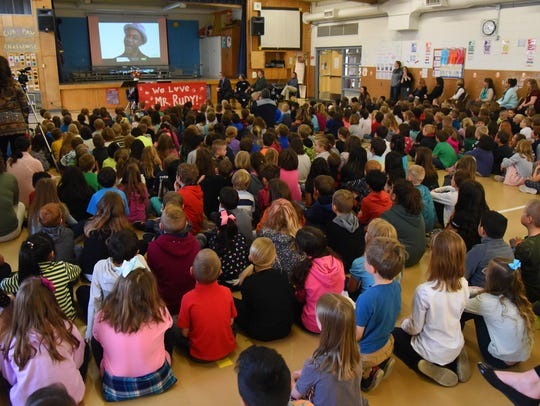 Students at Tozer Elementary School in Windsor gather