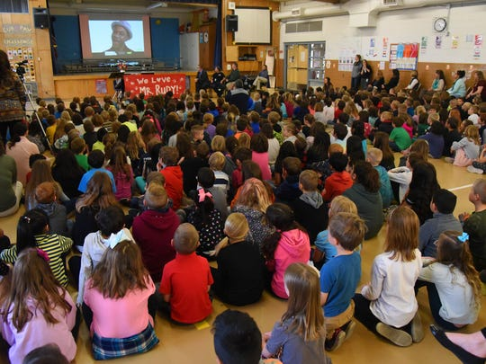 Students at Tozer Elementary School in Windsor gather at a school assembly to honor and recognize janitor Rudy Hernandez for being named a nationwide top 10 finalist in Janitor of the Year.