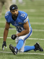 The Detroit Lions Golden Tate warms up before preseason
