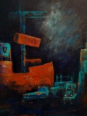 """Night at the Port,"" acrylic by Steve Johnson."