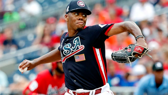 Jul 15, 2018; Washington, DC, USA; USA pitcher Hunter Greene (3) pitches in the third inning against the World Team during the 2018 All Star Futures Game at Nationals Ballpark. Mandatory Credit: Geoff Burke-USA TODAY Sports