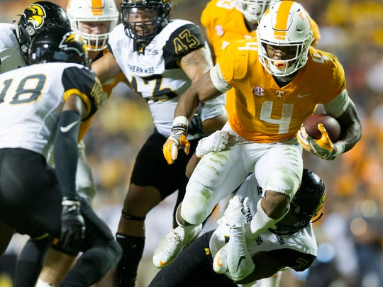 Tennessee running back John Kelly (4) ruduring an game between Tennessee and Southern Miss at Neyland Stadium in Knoxville, Tennessee, on Saturday, Nov. 4, 2017.