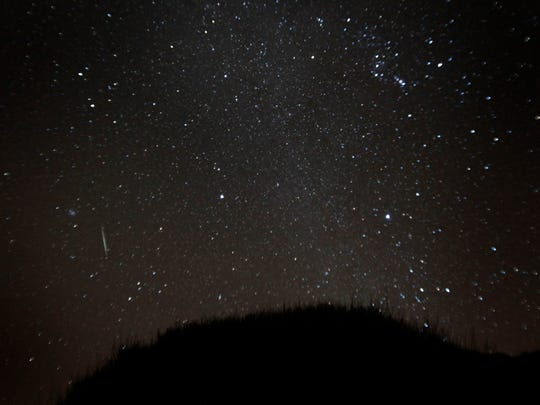 A general view of the Geminid meteor shower in the