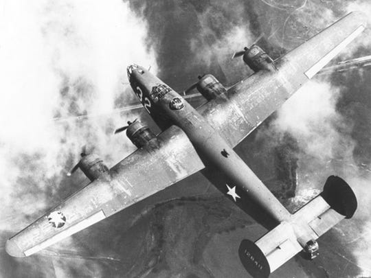 A B-24 bomber in World War II.