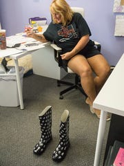 Laura Zain has her boots ready for a journey to Texas.