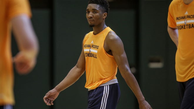 Donovan Mitchell of Louisville during the Pacers pre-draft workout at Bankers Life Fieldhouse, Thursday, June 15, 2017.