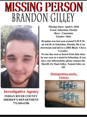 A missing persons flier for missing Sebastian man Brandon Gilley.