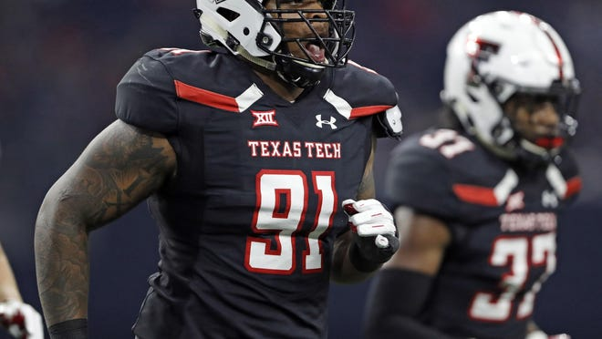 Texas Tech's Nelson Mbanasor (91), who had four tackles in the season opener against Houston Baptist, will miss the rest of the season with an injury, a Tech spokesman said Monday.