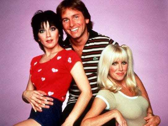 """The cast of the 1970s sitcom, """"Three's Company,"""" from left, Joyce DeWitt, John Ritter and Suzanne Somers."""