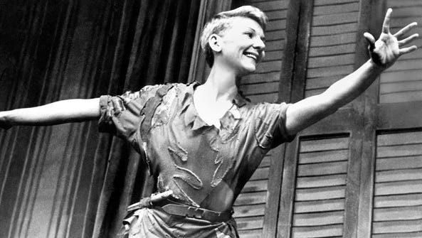 Mary Martin soars as Peter Pan.