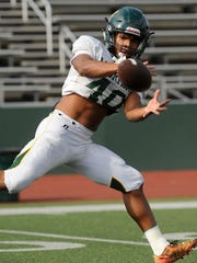 Running back Nikos Booth-Fortier has run for 358 yards and one touchdown so far this season for a talented Moorpark offense.
