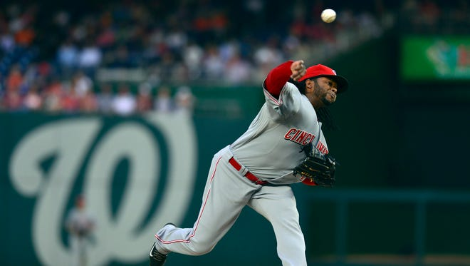 Cincinnati Reds starting pitcher Johnny Cueto (47) pitches during the first inning against the Washington Nationals at Nationals Park.
