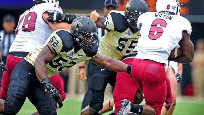 Vanderbilt linebacker Nigel Bowden (52) is one of 31 freshmen to play so far this season.