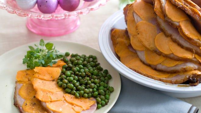 Glazed sweet potato stuffed ham.