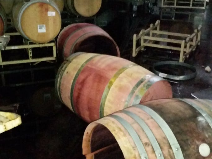 Damage at Jessup Cellars in California