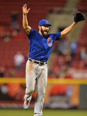 Jake Arrieta #49 of the Chicago Cubs celebrates after the final out after throwing a no-hitter against the Cincinnati Reds at Great American Ball Park on April 21, 2016 in Cincinnati, Ohio. Chicago defeated Cincinnati 16-0.