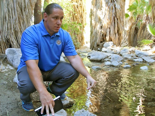Agua Caliente tribal chairman Jeff Grubbe pauses near a stream in the Indian Canyons during an interview about the Coachella Valley's aquifer and the tribe's lawsuit.