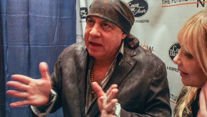 Steven Van Zandt and his wife Maureen chat after a press conference announcing plans for the Count Basie Theatre expansion.