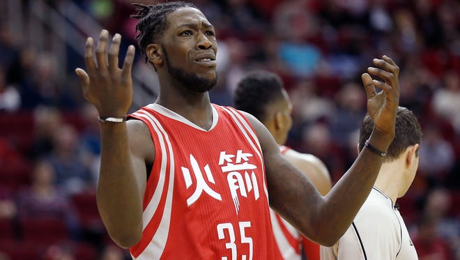 Houston Rockets forward Montrezl Harrell (35) reacts while playing against the Portland Trail Blazers  in the second half at Toyota Center.