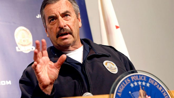 In this Feb. 6 photo, Los Angeles Police Chief Charlie Beck speaks at a news conference in Los Angeles.