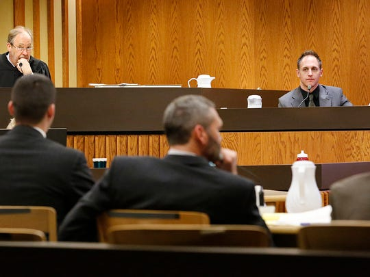 Fond du Lac Police detective Matthew Bobo testifies for the prosecution at the Eve Nance trial Thursday in Fond du Lac.