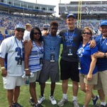 From left, 2016 UK commits Davonte Robinson and Landon Young, and their families