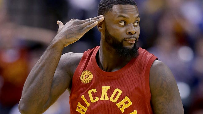 Indiana Pacers guard Lance Stephenson (6) celebrates hitting a three-pointer by signaling that he is getting into the defender heads in the second half of their game Wednesday, April 6, 2016, evening at Bankers Life Fieldhouse. The Indiana Pacers defeated the Milwaukee Bucks 104-89.