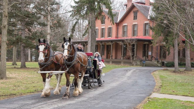 South Creek Clydesdales will be pulling guests on sleighs, whether or not there is snow, at the Rutherford B. Hayes Presidential Library & Museums.