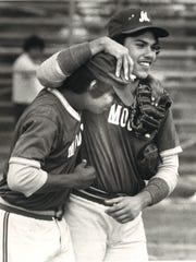Unidentified Moody High School baseball players, circa