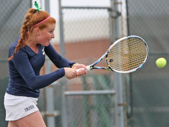 Cathedral's Maeve Koscielski in sectional action at North Central, May 20, 2015.
