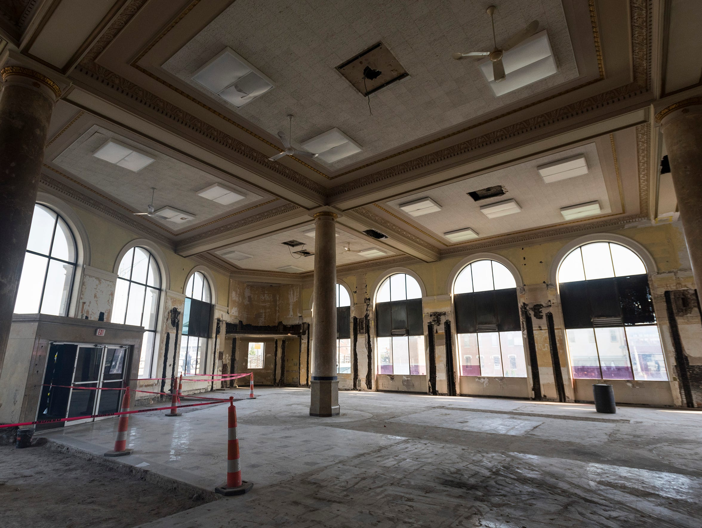 The ballroom in the CityFlats building is pictured after the former bank's mezzanine was demolished and before other renovations began in early 2018.