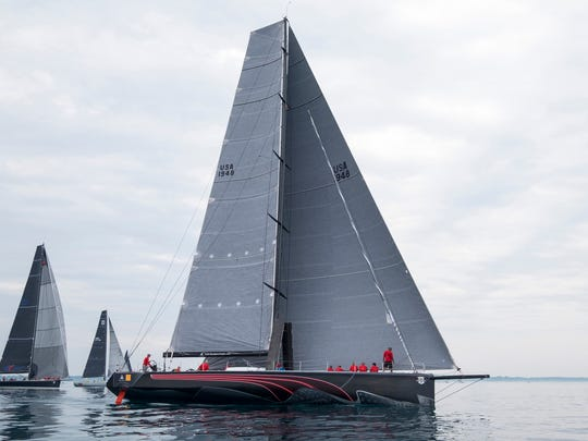 The Il Mostro leads the Class A Division 1 race away from the starting line at the start of a race Saturday, July 14, 2018, during the Bell's Beer Bayview Mackinac Race on Lake Huron.