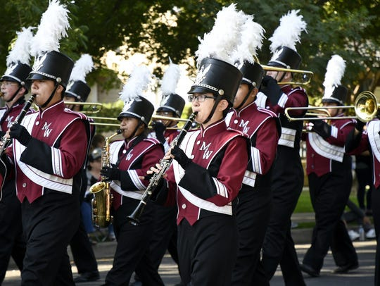 Mt. Whitney High School performs at the 38th annual Visalia Band Review in downtown Visalia on Saturday, October 20, 2018.