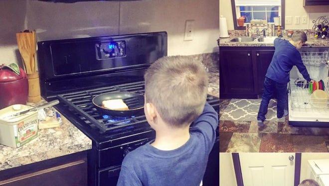 Nikkole Paulun's son learns his chores.