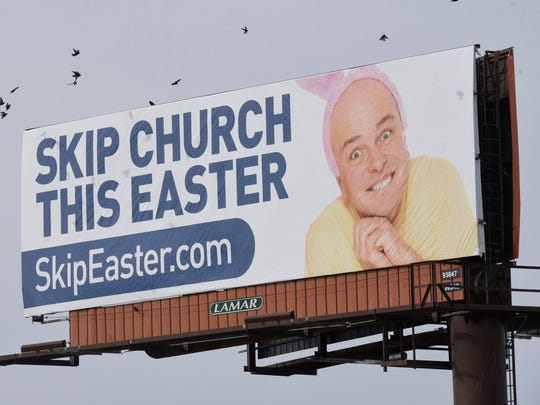 April Fool's billboard for Ward Church in Northville as seen from Five Mile Road in Livonia.