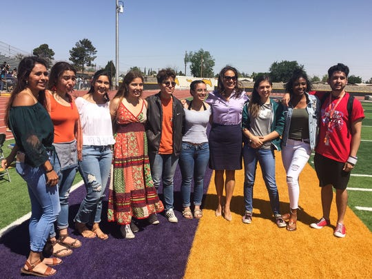 Congressional candidate and former El Paso County Judge Veronica Escobar joined Burges High School students at their demonstration against school violence on Friday.