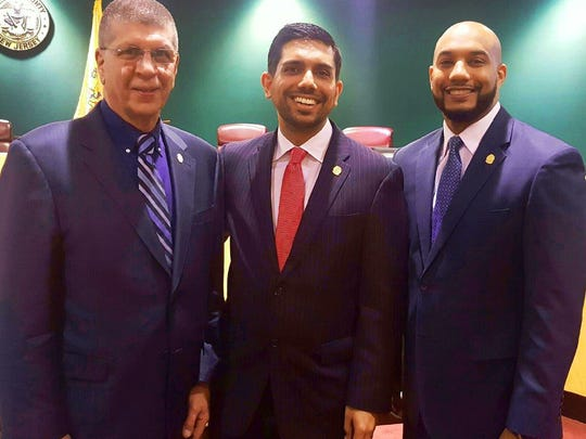 "Passaic County Freeholders, all Democrats are L to R, Bruce James, Assad Akhter, and Theodore ""TJ"" Best."