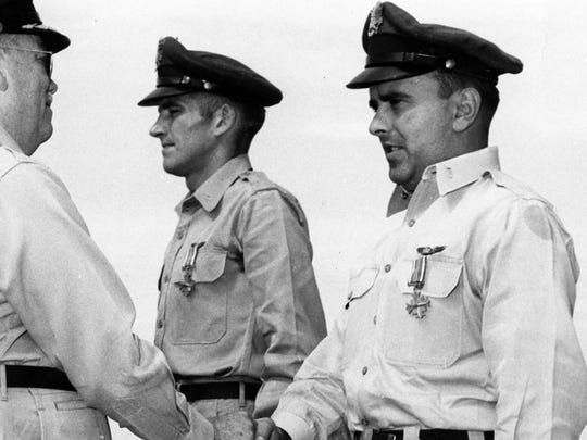 First Lt. James Pragar received the Distinguished Flying Cross, the Air Force's highest award.