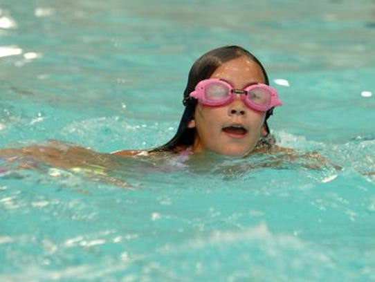 Mikayla Siebert, 10, of Wausau plays in pool of the