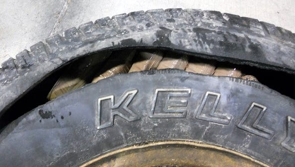 U.S. Border Patrol agents seized marijuana bundles hidden in the spare tire of an SUV on Thursday, Dec. 31, near Alamogordo, N.M. The pot has a street value of $45,080.