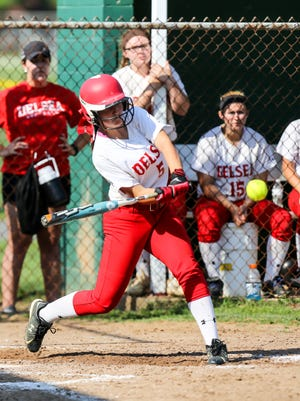 Delsea's Ashley Harkins bats during an 8-4 loss to Mainland in the Group III South semifinals on Tuesday.