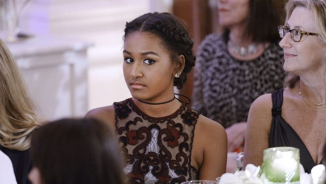 Sasha Obama attends a State Dinner at the White House on March 10, 2016.