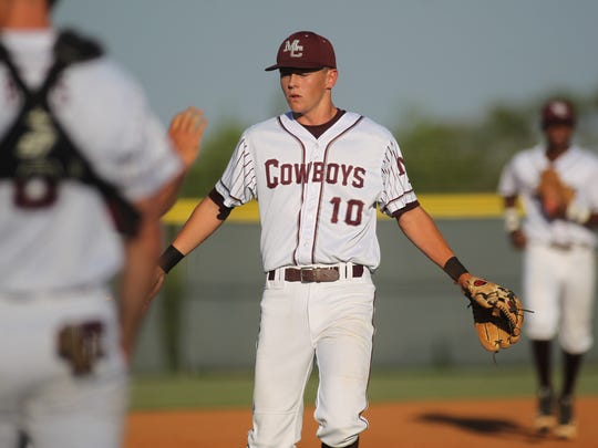 Madison County's Drew Annett slaps hands as he exits the field at the end of an inning.