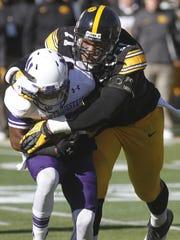 Iowa defensive lineman Carl Davis had two sacks and