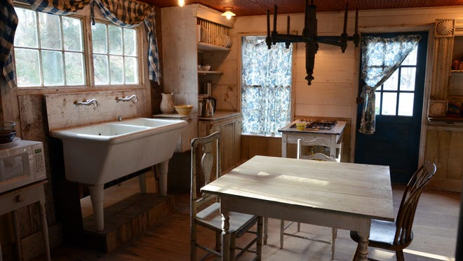 Pictured is the renovated kitchen inside the Decker House, one of six properties Bronson Pinchot owns in Harford, Pennsylvania.