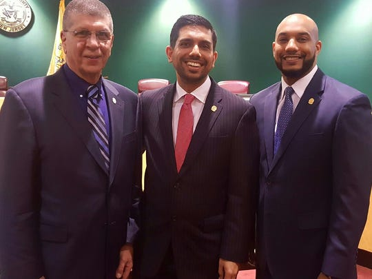"Democratic incumbent freeholders Bruce James, left, Assad Akhter and Theodore ""T.J."" Best."