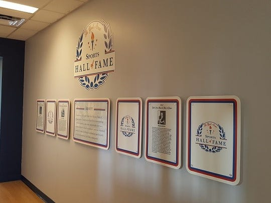 The plaques honoring the members of the York Area Sports Hall of Fame reside at the York Revolution's PeoplesBank Park.