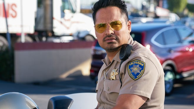 """Is that Erik Estrada? Nope, it's Michael Peña playing Ponch in a big-screen version of """"CHIPS.'"""