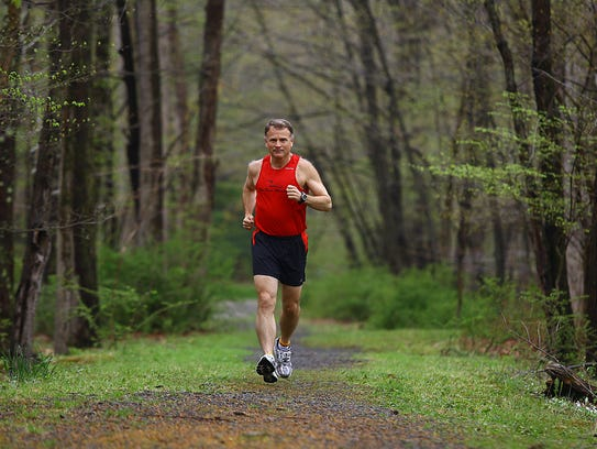 Mark Washburne of Mendham is pictured running on April 27, 2011.