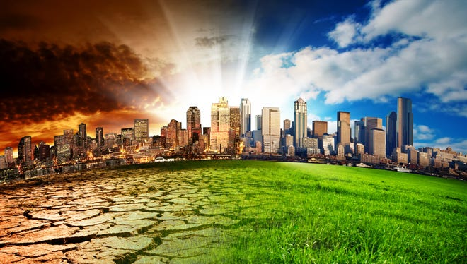 A city showing the effect of climate change.